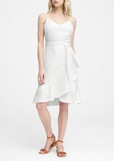 Banana Republic Linen-Blend Ruffle Wrap Dress