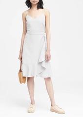 Banana Republic Linen-Blend Ruffle Wrap Dress