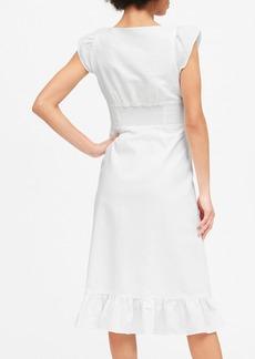 Banana Republic Linen-Cotton Button-Front Midi Dress