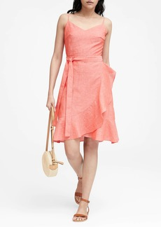Banana Republic Linen-Cotton Ruffle Wrap Dress