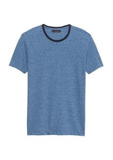 Banana Republic Linen-Cotton Stripe Crew-Neck T-Shirt