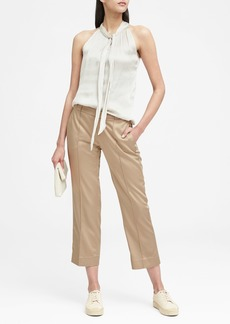Banana Republic Logan Trouser-Fit Cropped Sateen Pant