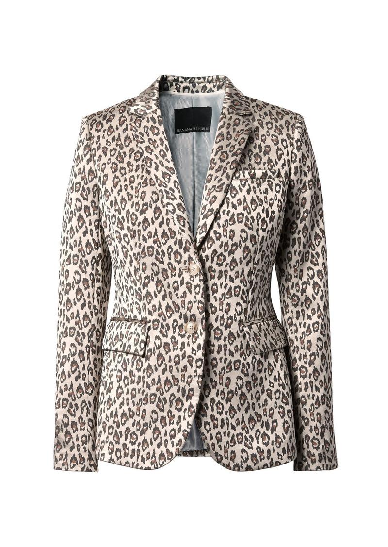 Banana Republic Long and Lean-Fit Leopard-Print Blazer