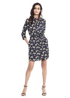 Banana Republic Long-Sleeve Floral Print Shirt Dress