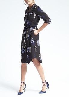 Banana Republic Long-Sleeve Tie-Waist Floral Shirt Dress