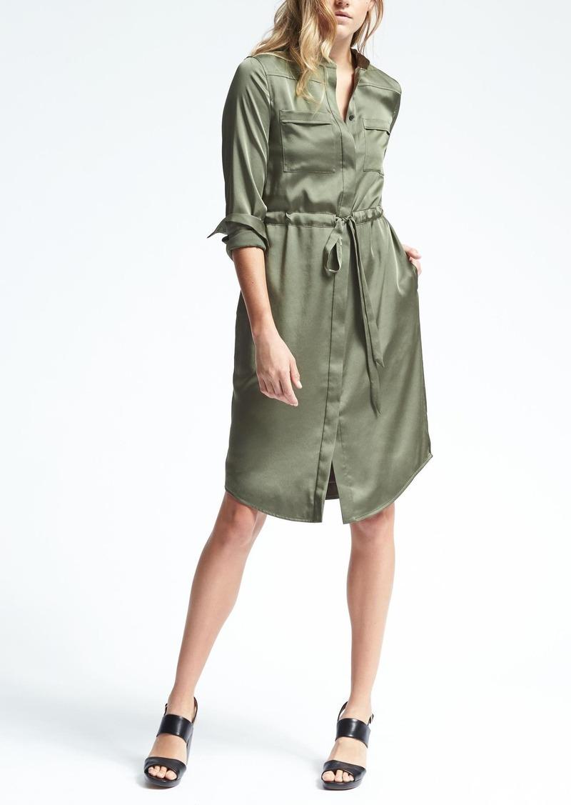 Banana Republic Long Sleeve Tie Waist Shirt Dress Dresses