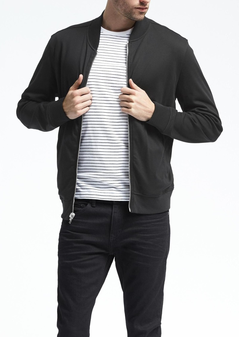 Banana Republic Luxe Touch Reversible Knit Bomber Jacket