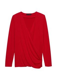 Banana Republic Luxespun Wrap-Front T-Shirt Top