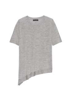 Banana Republic Machine-Washable Merino Wool Asymmetrical-Hem Sweater