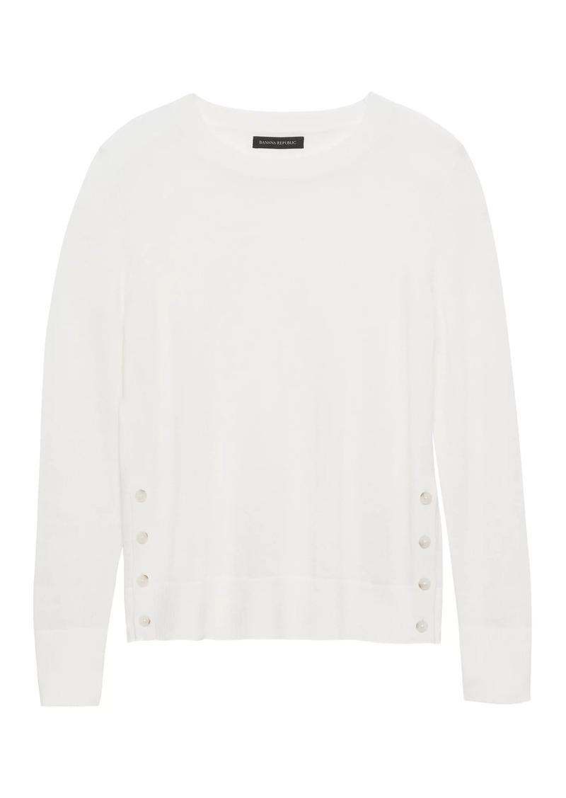e622de429a4 Banana Republic Machine-Washable Merino Wool Button-Side Cropped Sweater