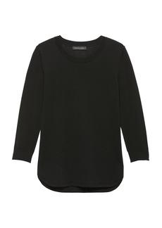 Banana Republic Machine-Washable Merino Wool Curved-Hem Sweater