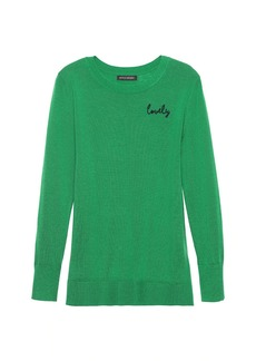 Banana Republic Machine-Washable Merino Wool Sweater with Embroidery