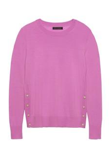 Banana Republic Machine-Washable Merino Wool Button-Side Cropped Sweater