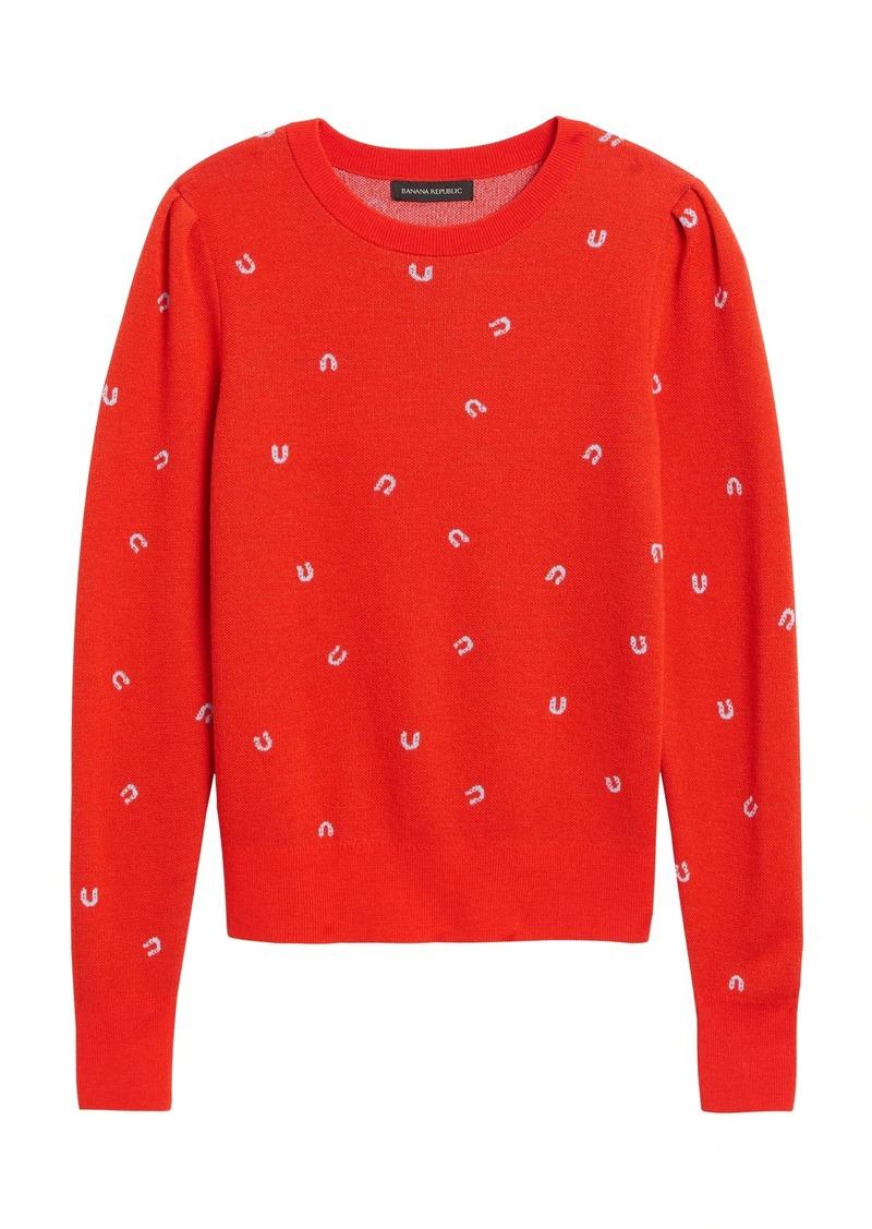 Banana Republic Merino-Blend Puff-Sleeve Sweater