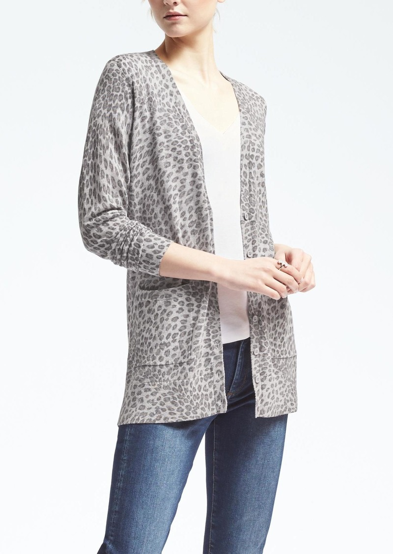 Gray Printed Open Front Long Sleeve Cardigan