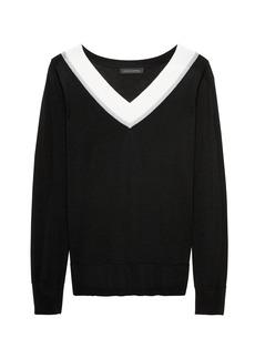 Banana Republic Merino Varsity V-Neck Sweater