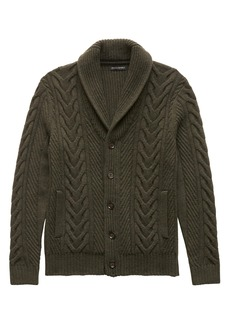 Banana Republic Merino Wool Blend Cable-Knit Shawl-Collar Cardigan Sweater
