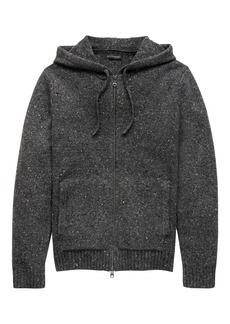 Banana Republic Merino Wool Blend Donegal Full-Zip Sweater Hoodie