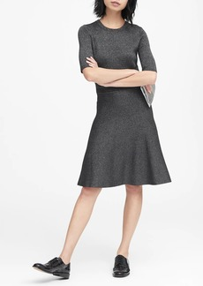 Banana Republic Metallic Fit-and-Flare Sweater Dress