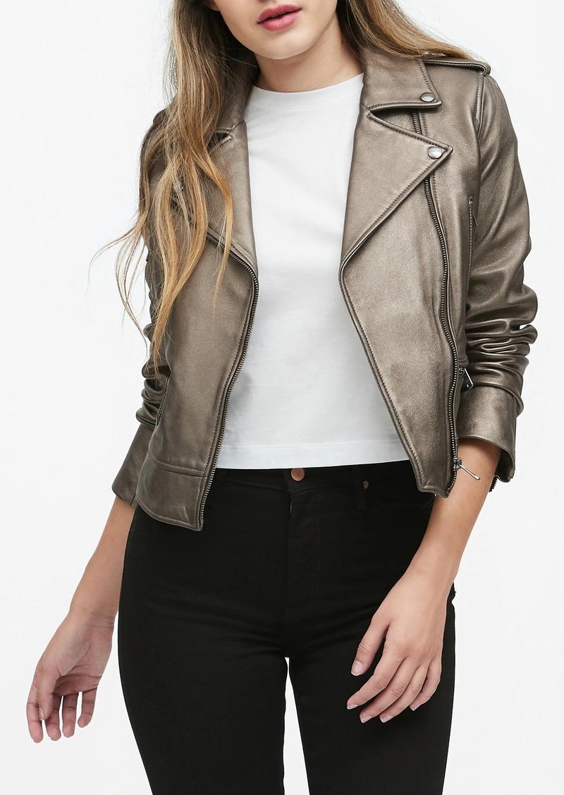 Banana Republic Metallic Leather Moto Jacket