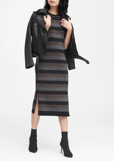 Banana Republic Metallic Stripe Sweater Dress