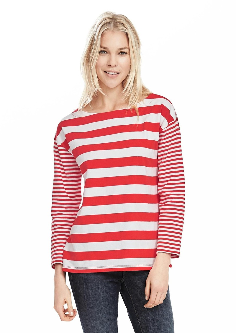 Banana Republic Mixed-Stripe Boatneck Top
