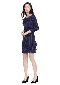 Navy Asymmetrical Pleat Dress