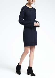 Navy Crochet-Trim Sweater Dress