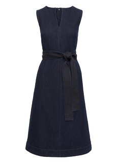Banana Republic Notch-Neck Denim Fit-and-Flare Midi Dress