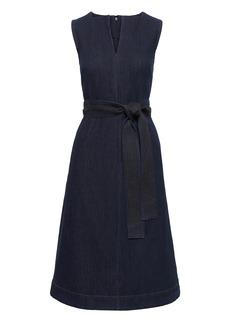 Banana Republic Notch-Neck Denim Fit-and-Flare Midi Dress