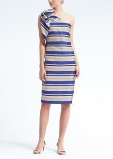One-Shoulder Bow Stripe Dress
