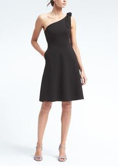 One-Shoulder Ponte Fit-and-Flare Dress
