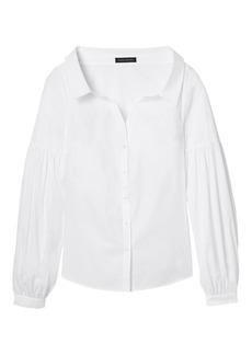 Banana Republic Open-Collar Bishop-Sleeve Shirt