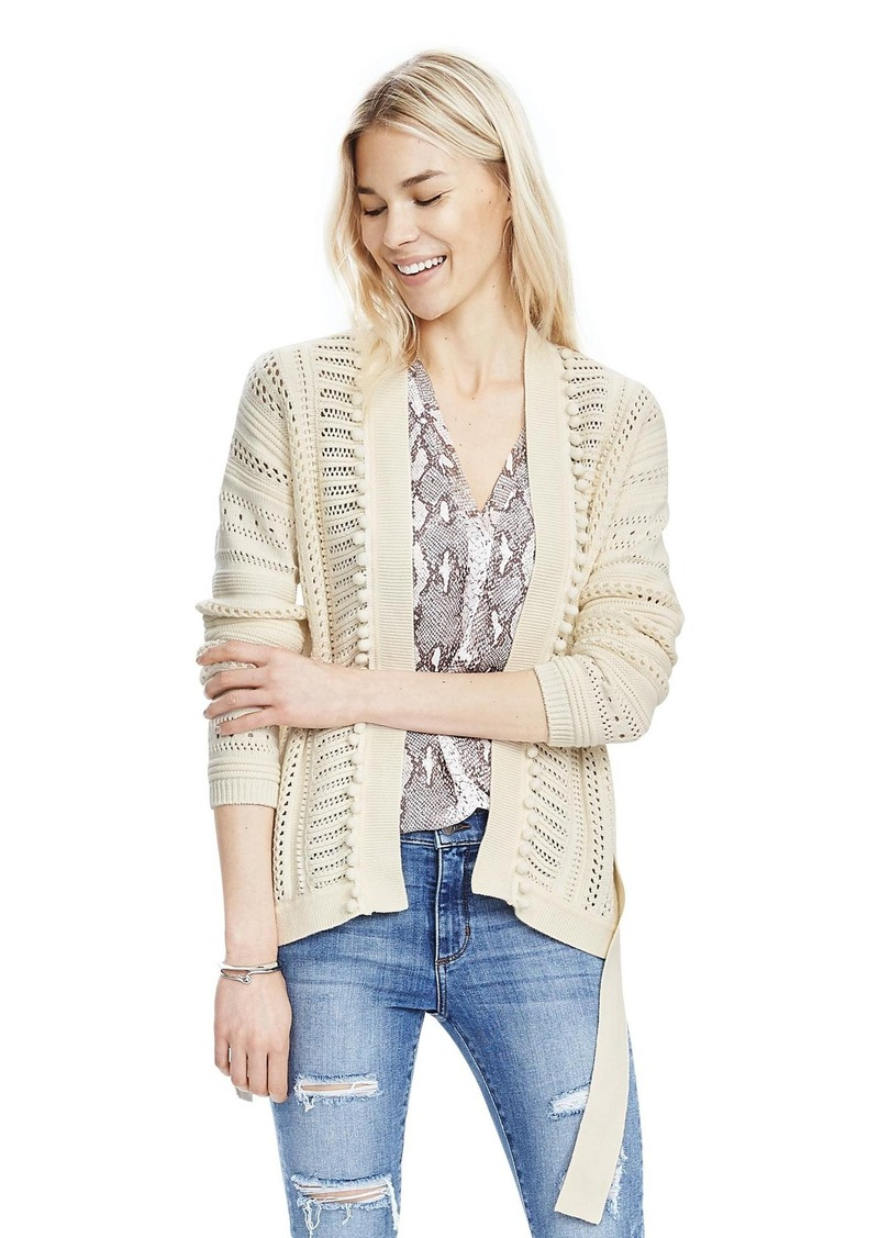 Banana Republic Open-Front Belted Pom-Pom Sweater