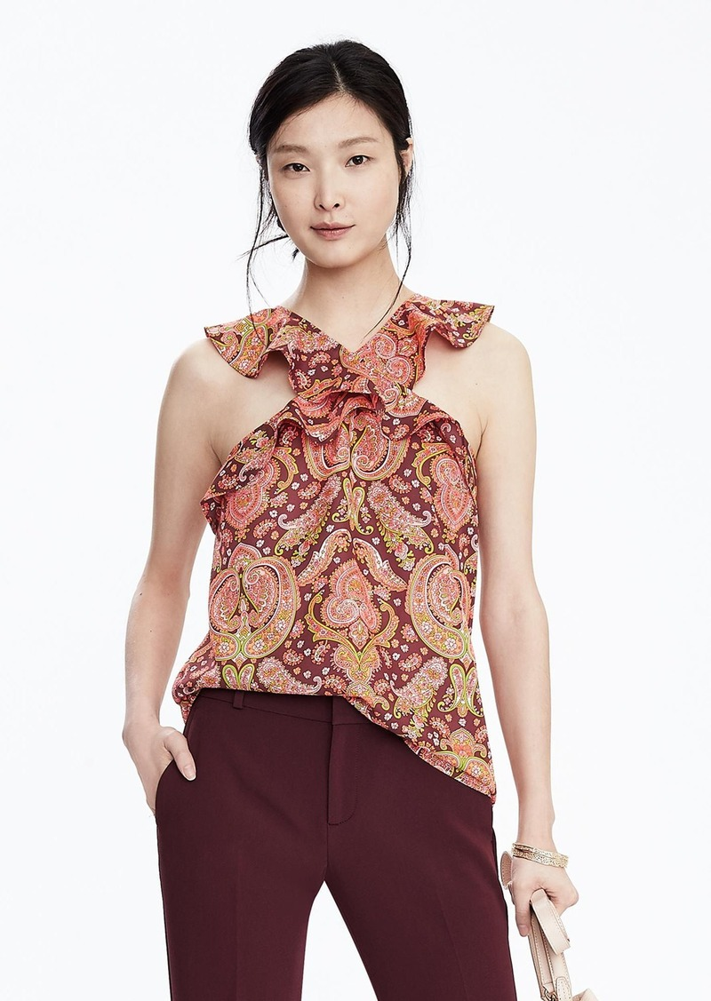 Banana Republic Paisley Cross-Neck Top