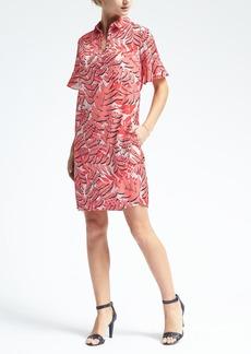 Palm Print Flutter-Sleeve Polo Dress
