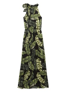 Banana Republic Palm Print Tie-Neck Maxi Dress