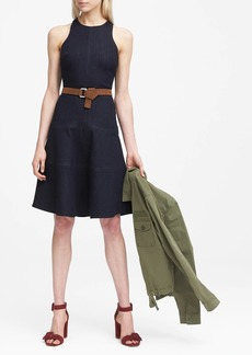 Banana Republic Paneled Denim Fit-and-Flare Dress