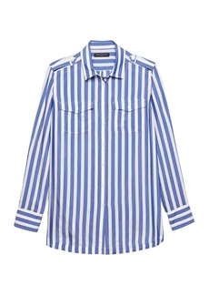 Banana Republic Parker Tunic-Fit Stripe Utility Shirt