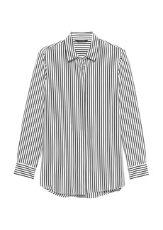 Banana Republic Parker Tunic-Fit Stripe Washable Silk Shirt