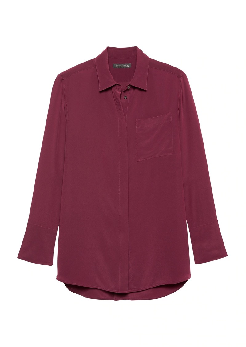 Banana Republic Parker Tunic-Fit Washable Silk High-Low Shirt