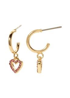 Banana Republic Pavé Heart Mini Hoop Earrings