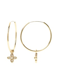 Banana Republic Pave Flower Hoop Earring
