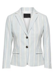 Banana Republic Petite Fitted Crop Stretch Linen-Cotton Stripe Blazer