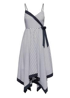 Banana Republic Petite Stripe Strappy Handkerchief-Hem Dress