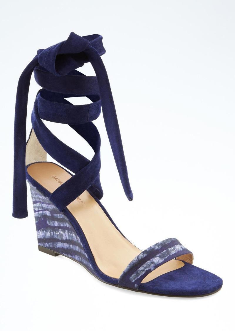 e3b26f2ec404 Banana Republic Piece   Co. Batik Ankle-Wrap Wedge Sandal Now  69.99