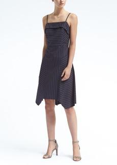 Pinstripe Strappy Handkerchief Hem Fit-and-Flare Dress