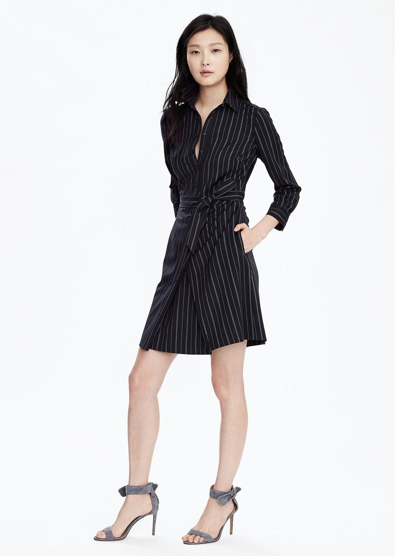 Banana Republic Pinstripe Tie-Waist Shirtdress