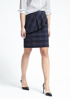 Banana Republic Plaid Asymmetrical Peplum Skirt