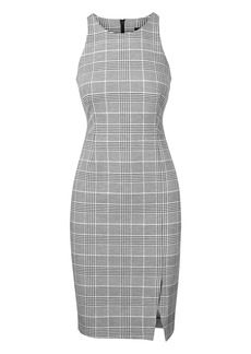 Plaid Bi-Stretch Racer-Neck Sheath Dress